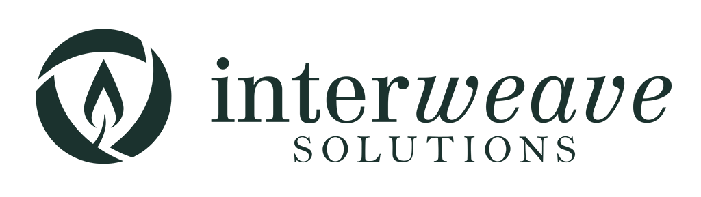 Descargar (100KB) Logotipo de Interweave Solutions, estilo horizontal, color verde oscuro, en el format raster .png Este archivo tiene un fondo transparente.